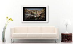 Grey Day Stockley Bridge - Framed Print with Mount on Wall