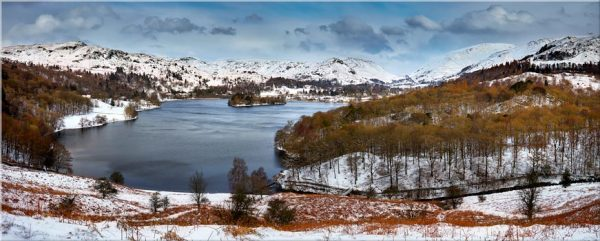 Grasmere Winter Panorama - Canvas Print