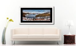 Grasmere Winter Panorama - Framed Print with Mount on Wall