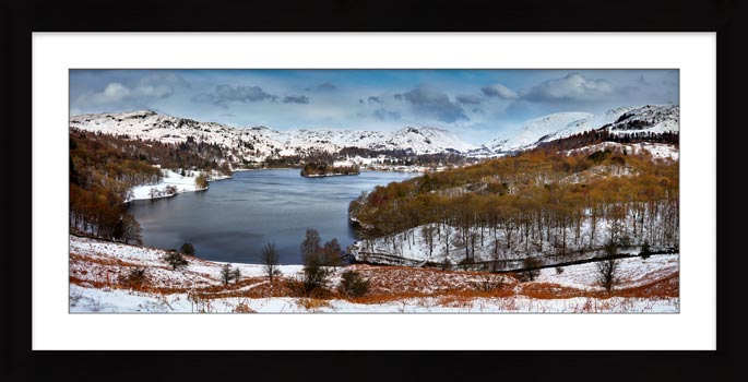 Grasmere Winter Panorama - Framed Print