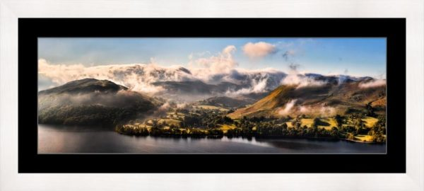 Ullswater Clouds Panorama - Framed Print with Mount