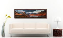 Winter Sun Over Wast Water - Walnut floater frame with acrylic glazing on Wall