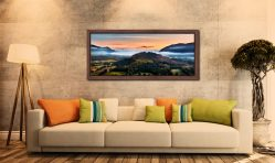 Dawn Mists Over Bassenthwaite Lake - Walnut floater frame with acrylic glazing on Wall