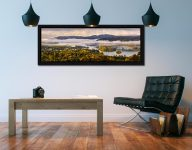 Windermere Morning Mists - Black oak floater frame with acrylic glazing on Wall