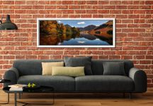 Buttermere Autumn Trees - White Maple floater frame with acrylic glazing on Wall
