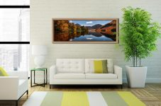 Buttermere Autumn Trees - Oak floater frame with acrylic glazing on Wall