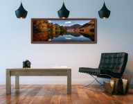 Buttermere Autumn Trees - Walnut floater frame with acrylic glazing on Wall