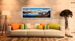 Derwent Water Morning Mists - White Maple floater frame with acrylic glazing on Wall