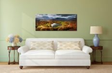 Loughrigg Tarn in Autumn Sunshine - Print Aluminium Backing With Acrylic Glazing on Wall