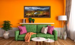 Loughrigg Tarn in Autumn Sunshine - Walnut floater frame with acrylic glazing on Wall