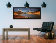Warm Sunlight on Wasdale Head - Black oak floater frame with acrylic glazing on Wall