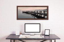 Coniston Jetty - Walnut floater frame with acrylic glazing on Wall