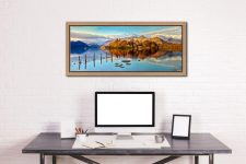 Derwent Water Panorama - Oak floater frame with acrylic glazing on Wall
