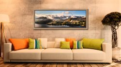 Ullswater Clouds Panorama - Oak floater frame with acrylic glazing on Wall