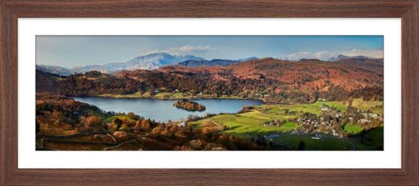 Grasmere Village and Lake - Framed Print with Mount