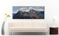 Late Snow on Langdale Pikes - Canvas Print on Wall