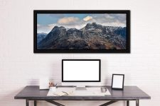 Late Snow on Langdale Pikes - Black oak floater frame with acrylic glazing on Wall