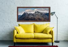 Late Snow on Langdale Pikes - Walnut floater frame with acrylic glazing on Wall