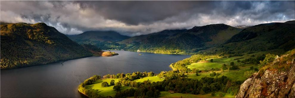 Ullswater Mountains Panorama - Canvas Print