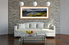 Ullswater Mountains Panorama - Framed Print with Mount on Wall