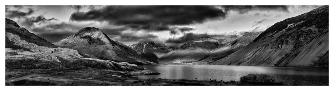 Winter Sun Over Wast Water - Black White Lake District Print