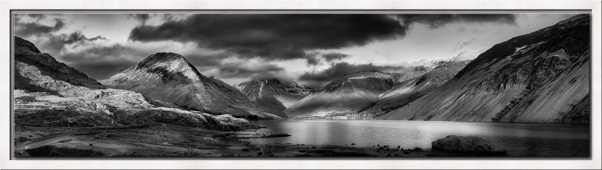 Winter Sun Over Wast Water - Black White Modern Print