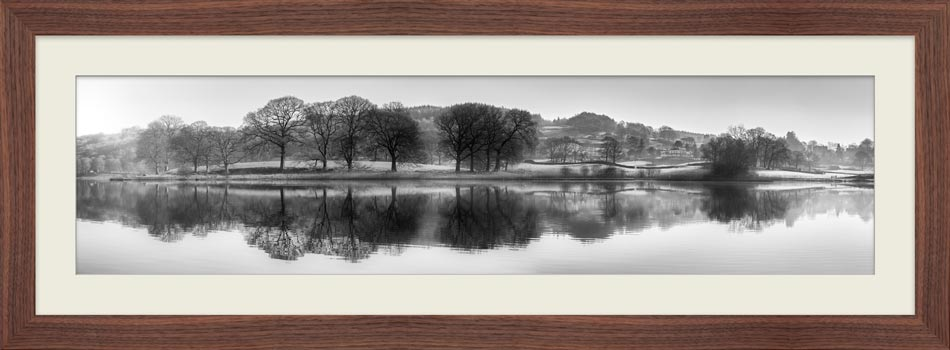 Misty Morning at Esthwaite Water - Black White Framed Print