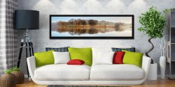 Misty Morning at Esthwaite Water - Black oak floater frame with acrylic glazing on Wall