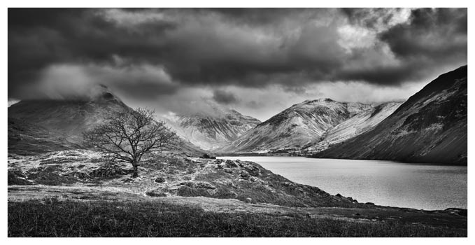 Winter Colours of Wast Water - Black White Lake District Print