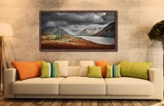 Winter Colours of Wast Water - Walnut floater frame with acrylic glazing on Wall