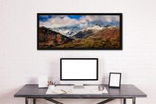 Langdale Valley Winter Panorama - Black oak floater frame with acrylic glazing on Wall