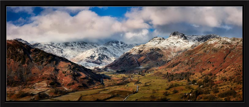 Langdale Valley Winter Panorama - Modern Print