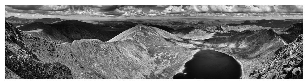 Swirral Edge to Striding Edge - Black White Lake District Print