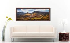 Morning sunshine on the mountains of the Quiraing of the Trotternish range on the Isle of Skye - Walnut floater frame with acrylic glazing on Wall