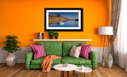 Peaceful Morning at Loch Fada - Framed Print with Mount on Wall