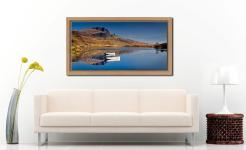 Peaceful Morning at Loch Fada - Oak floater frame with acrylic glazing on Wall