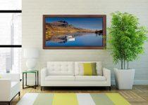Peaceful Morning at Loch Fada - Walnut floater frame with acrylic glazing on Wall