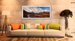 Glen Sligachan Isle of Skye - White Maple floater frame with acrylic glazing on Wall