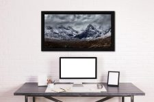 Black Cuillins Snow Fall - Black oak floater frame with acrylic glazing on Wall