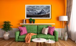 Black Cuillins Snow Fall - White Maple floater frame with acrylic glazing on Wall