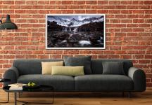 Fairy Pools Rocks Mountains Snow - White Maple floater frame with acrylic glazing on Wall