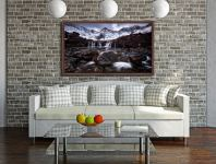 Fairy Pools Rocks Mountains Snow - Walnut floater frame with acrylic glazing on Wall