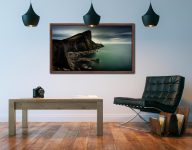 Neist Point Lighthouse Green - Walnut floater frame with acrylic glazing on Wall
