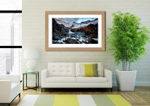 Spring Snow Fairy Pools - Framed Print with Mount on Wall