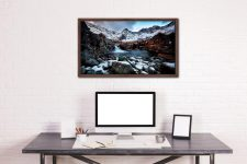 Spring Snow Fairy Pools - Walnut floater frame with acrylic glazing on Wall