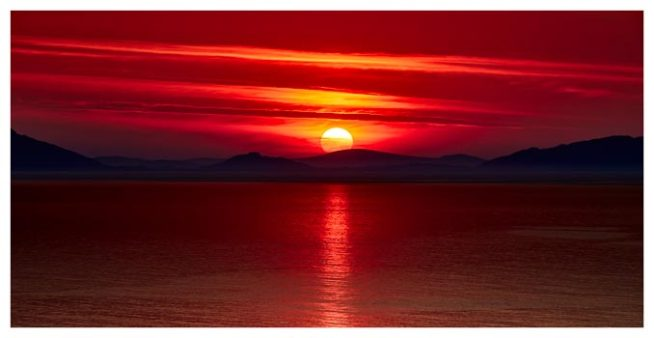 Red Sunset Over Outer Hebrides - Isle of Skye Print