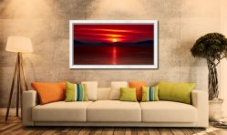 Red Sunset Over Outer Hebrides - White Maple floater frame with acrylic glazing on Wall