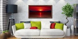 Red Sunset Over Outer Hebrides - Walnut floater frame with acrylic glazing on Wall