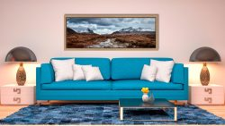 Glen Sligachan river with snow covered Cuillin mountains in the distance - Oak floater frame with acrylic glazing on Wall