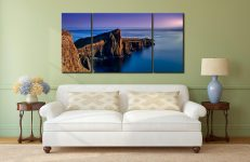 Golden Cliffs of Neist Point - 3 Panel Wide Centre Canvas on Wall